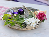 Zutaten für Weihnachtsstrauß aus Narcissus 'Ziva' (Tazetten)