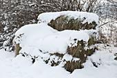 Gras - Sofa aus Baustahlmatten und Hasendraht verschneit im Winter