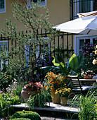 Holzterrasse mit Kübelpflanzen und Sonnenschirm