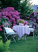 Nostalgische Sitzganitur auf dem Rasen am Hortensienbeet