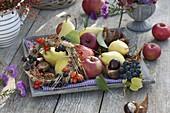 Schale mit Äpfeln (Malus), Birnen (Pyrus), Weintrauben (Vitis), Aesculus
