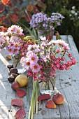 Kleine Sträuße aus Aster (Herbstastern) und Fruchtständen von Euonymus
