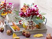 Herbststrauß aus Cyclamen (Alpenveilchen), Eucalyptus, Rosa (Hagebutten)