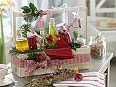 Geschenk-Korb mit selbstgemachten Essig - und Öl - Spezialitäten
