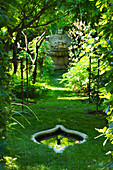 Chateau PLAISIR, FRANCE, Designer: Pascal CRIBIER. SECRET WISTERIA Walk with STONE REFLECTING Pool AND ORNATE Renaissance STONE FOUNTAIN