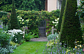 WOLLERTON Old HALL, SHROPSHIRE: VIEW From THE YEW Walk TOWARDS GATE / ENTRANCE with Hydrangea PANICULATA 'UNIQUE' IN POTS AND SHASTA DAISIES LEUCANTHEMUM 'PHYLLIS Smith'