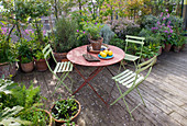 ROSE GRAY AND SCULPTOR DAVID MACILWAINE: VIEW ONTO THE DECKED ROOF TERRACE / ROOF Garden with PLANTS IN CONTAINERS AND Metal TABLE with Green CHAIRS