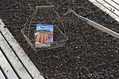 Drahtkorb mit Möhren-Samen und Gartenkreil im Gemüsebeet