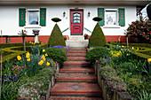 Vorgarten mit Klinkertreppe und Formschnittgehölzen