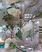 Viereckglasvase mit weißer Dianthus / Nelke