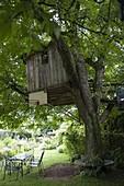 Baumhaus im Walnussbaum, Baumbank und Sitzgruppe auf dem Rasen