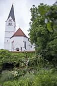 Verwunschene Gartenecke an Mauer zur Kirche