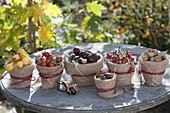 Herbstfrüchte in Tontoepfen mit Rupfen-Verkleidung