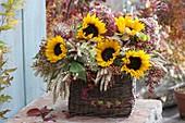 Erntedank-Korb mit Helianthus (Sonnenblumen), Weizen (Triticum)