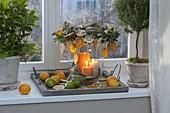 Großes Windlicht aus Glas mit Citrus (Orangenscheiben), Kranz
