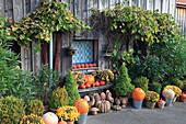 Vorgarten und Hauseingang herbstlich dekoriert