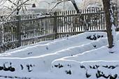 Verschneite Buxus (Buchs - Hecken) als Beeteinfassungen und Holzzaun