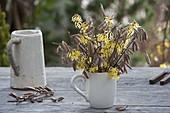 Kleiner Strauss aus Zweigen von Corylus avellana (Haselnuss) und Hamamelis