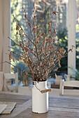 Strauss aus Zweigen von Corylus avellana (Haselnuss) und Salix caprea