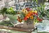 Bunter Strauss aus Tropaeolum (Kapuzinerkresse), Blüten von Bohnen