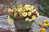 Herbststrauss aus Chrysanthemum (Herbstchrysanthemen), Rosa