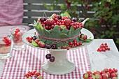 Beerentorte aus Erdbeeren (Fragaria), roten Johannisbeeren (Ribes rubrum)