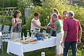 Sommerfest mit Freunden : Tisch mit Antipasti , Häppchen und Getränken