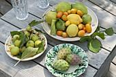 Frisch gepflueckte mediterrane Früchte auf Keramik-