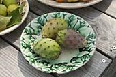 Frisch Früchte vom Feigenkaktus (Opuntia ficus-indica) auf Keramik-