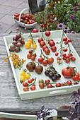 Tomatentableau auf Holztablett