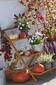 Orange Blumentreppe mit Kuerbissen und Heide