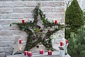 Stern aus Muehlenbeckia-Ranken (Drahtwein), Hedera (Efeu), Juniperus