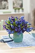 Blau-violetter Strauss aus Muscari armeniacum (Traubenhyazinthen)