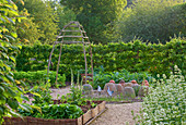 Rockcliffe HOUSE, Gloucestershire: THE WALLED VEGETABLE / KITCHEN Garden with CLOCHES AND RAISED BEDS
