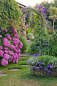 MILLE FLEURS, Guernsey: STEPPING STONE PATH THROUGH ARCH with Hydrangea AND CLEMATIS