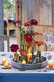 Herbstliche Tischdeko mit Stücken vom Riesen-Knöterich