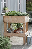 Rollbares Hochbeet auf Balkon selbst bauen und mit Kräutern bepflanzen