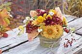 Kleiner Herbststrauss mit Chrysanthemum (Herbstchrysanthemen)