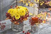 Kleiner Strauss mit Chrysanthemum (Herbstchrysanthemen), Rosa