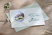Oster Grusskarte Frohe Ostern, selbst gestaltet mit Oster-Oblate