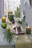 Brett mit grünen Kerzen, Treibholz, Zapfen und Zweig von Pinus