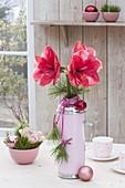 Amaryllis als Strauß mit Kiefernzweigen in Thermoskanne als Vase