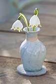 Blüten von Leucojum (Märzenbecher) in Keramik-Vase