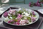Silberne Schale mit Blüten von verschiedenen Malus