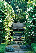 THYME Walk TO WOODEN SEAT with White ROSES AND PEBBLE POOL. CARTIER / HARPERS & Queen GARDEN. CHELSEA 98