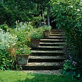 Treppe aus Eisenbahnschwellen und Kies mit bepflanzten Terracotta-Töpfen