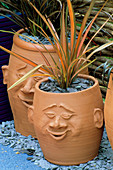 TERRACOTTA POTS with FACES PLANTED with PHORMIUM