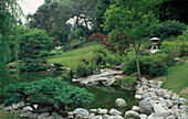 LANDSCAPED POND IN THE JAPANESE Garden at THE HUNTINGON BOTANICAL GARDENS, California
