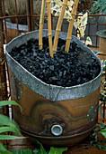 Container aus Altmetall, Wassertank mit gelben Bambusstangen und schwarzem Schiefermulch