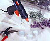 Lavendelmanchette für Teelichter